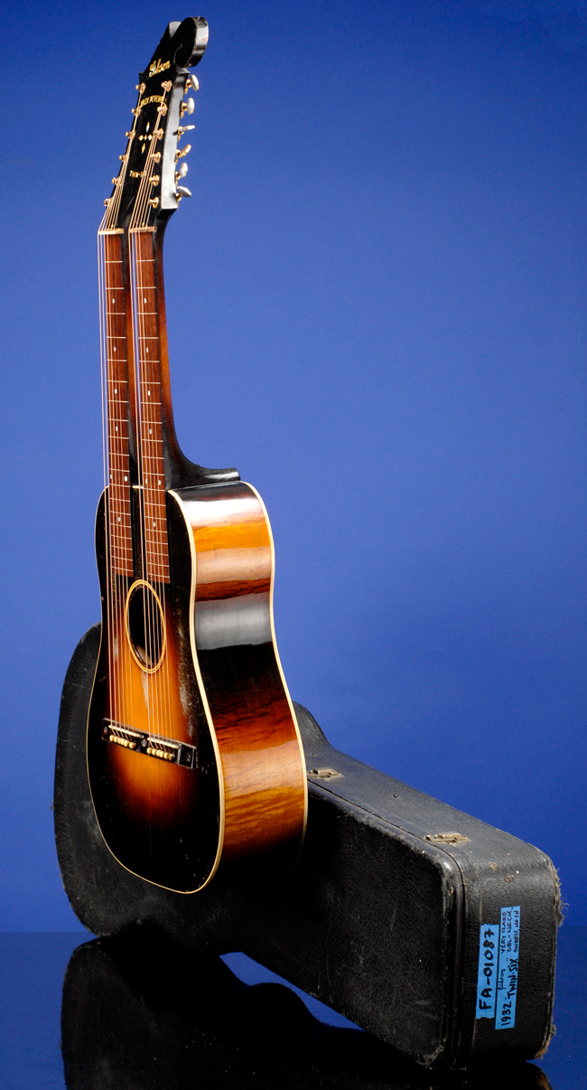 Reversible Double Neck Guitar with 2 Top Steel Nylon Strings