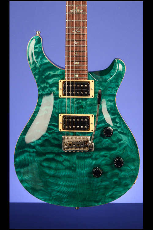 Custom 24 Turquoise Quilt 10 Top Guitars Fretted